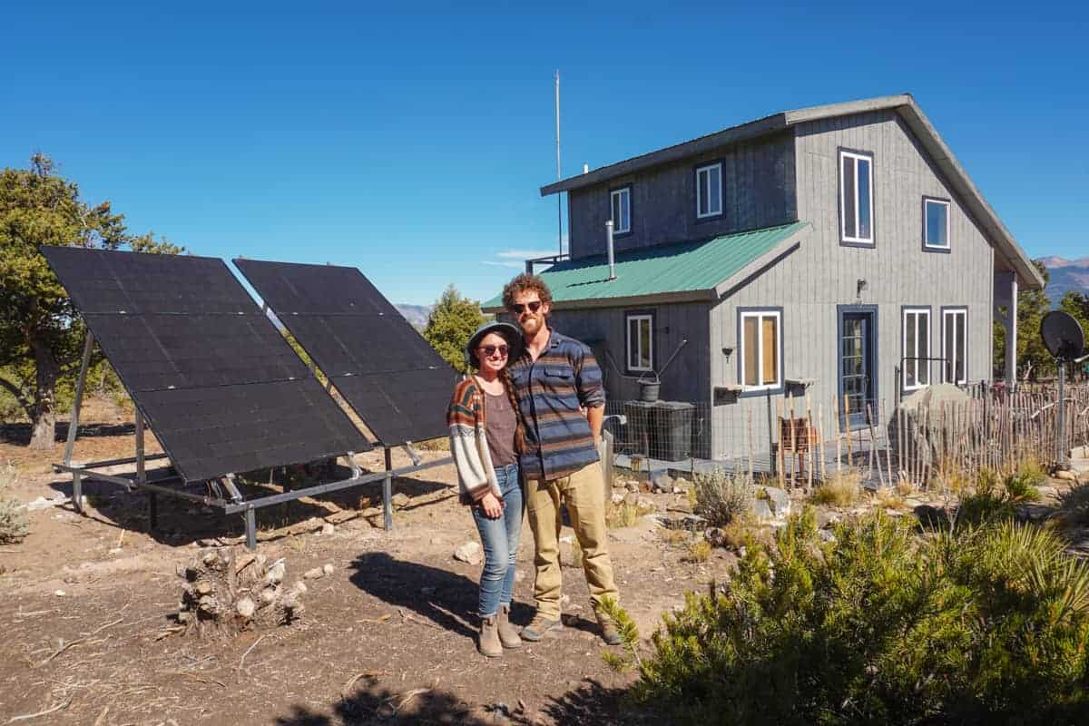 off grid house with solar panels